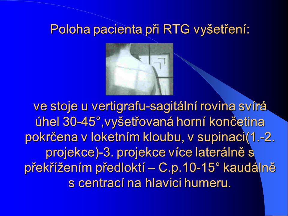 Poloha pacienta při RTG vyšetření: ve stoje u vertigrafu-sagitální rovina svírá úhel 30-45°,vyšetřovaná horní končetina pokrčena v loketním kloubu, v