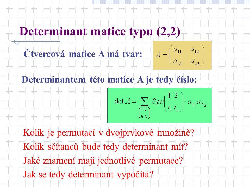 Determinant matice typu (2,2) Čtvercová matice A má tvar: Determinantem této matice A je tedy číslo: Kolik je permutací v dvojprvkové množině? Kolik s
