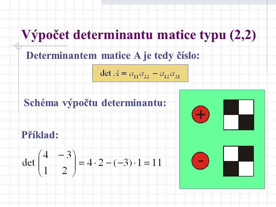 Výpočet determinantu matice typu (2,2) Determinantem matice A je tedy číslo: Schéma výpočtu determinantu: Příklad: