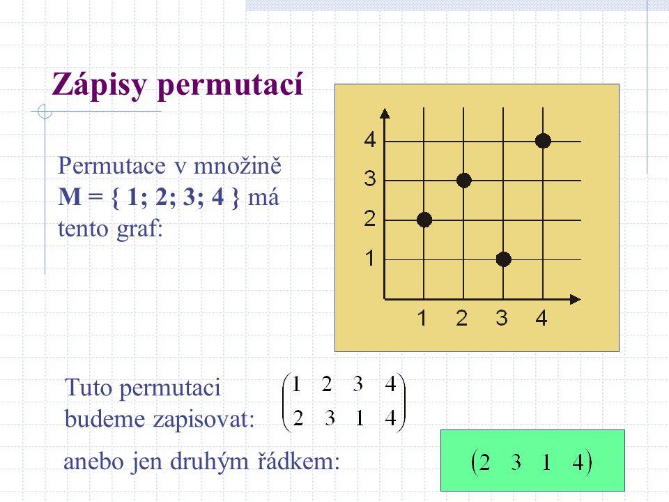Zápisy permutací Permutace v množině M = { 1; 2; 3; 4 } má tento graf: Tuto permutaci budeme zapisovat: anebo jen druhým řádkem: