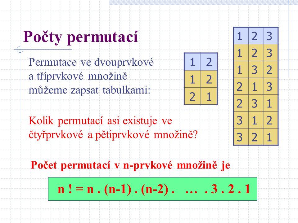 Počty permutací 12 12 21 Permutace ve dvouprvkové a tříprvkové množině můžeme zapsat tabulkami: Kolik permutací asi existuje ve čtyřprvkové a pětiprvk