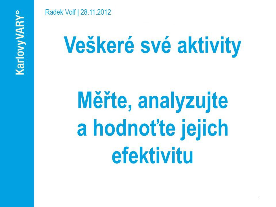 Radek Volf | 28.11.2012 Veškeré své aktivity Měřte, analyzujte a hodnoťte jejich efektivitu
