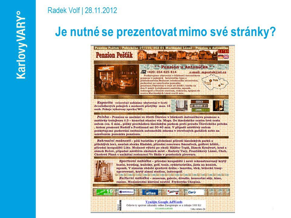 Je nutné se prezentovat mimo své stránky Radek Volf | 28.11.2012