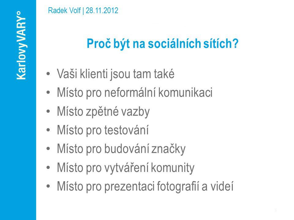 Radek Volf | 28.11.2012 Proč být na sociálních sítích.