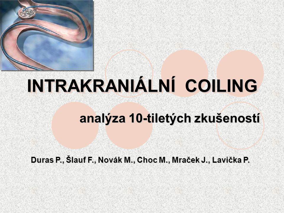 INTRAKRANIÁLNÍ COILING analýza 10-tiletých zkušeností Duras P., Šlauf F., Novák M., Choc M., Mraček J., Lavička P.