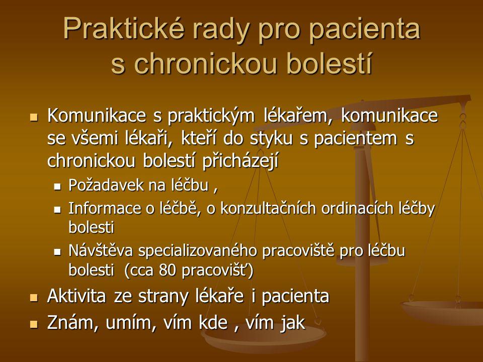 Praktické rady pro pacienta s chronickou bolestí Komunikace s praktickým lékařem, komunikace se všemi lékaři, kteří do styku s pacientem s chronickou