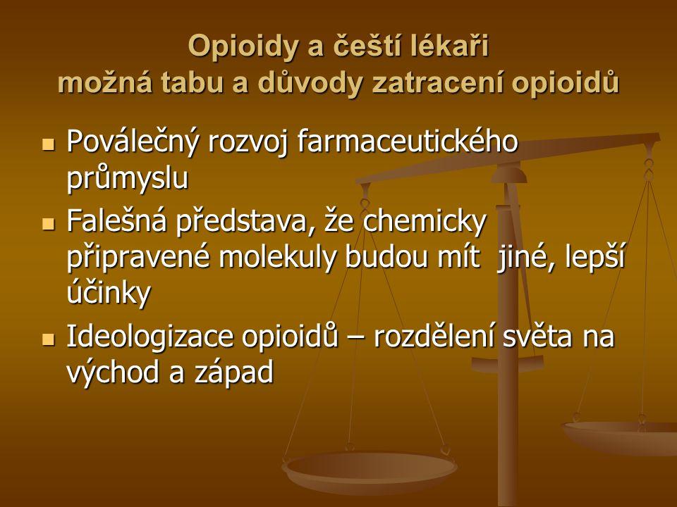 Opioidy a čeští lékaři možná tabu a důvody zatracení opioidů Poválečný rozvoj farmaceutického průmyslu Poválečný rozvoj farmaceutického průmyslu Faleš