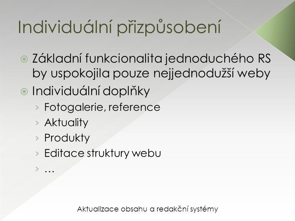 Aktualizace obsahu a redakční systémy Individuální přizpůsobení  Základní funkcionalita jednoduchého RS by uspokojila pouze nejjednodužší weby  Individuální doplňky › Fotogalerie, reference › Aktuality › Produkty › Editace struktury webu › …