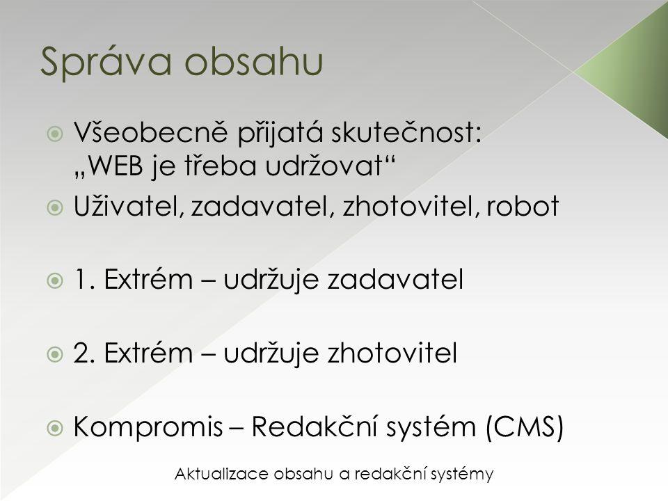 """Aktualizace obsahu a redakční systémy Správa obsahu  Všeobecně přijatá skutečnost: """"WEB je třeba udržovat  Uživatel, zadavatel, zhotovitel, robot  1."""