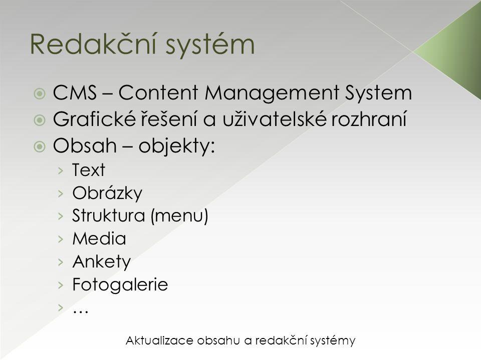 Aktualizace obsahu a redakční systémy Redakční systém  CMS – Content Management System  Grafické řešení a uživatelské rozhraní  Obsah – objekty: › Text › Obrázky › Struktura (menu) › Media › Ankety › Fotogalerie › …