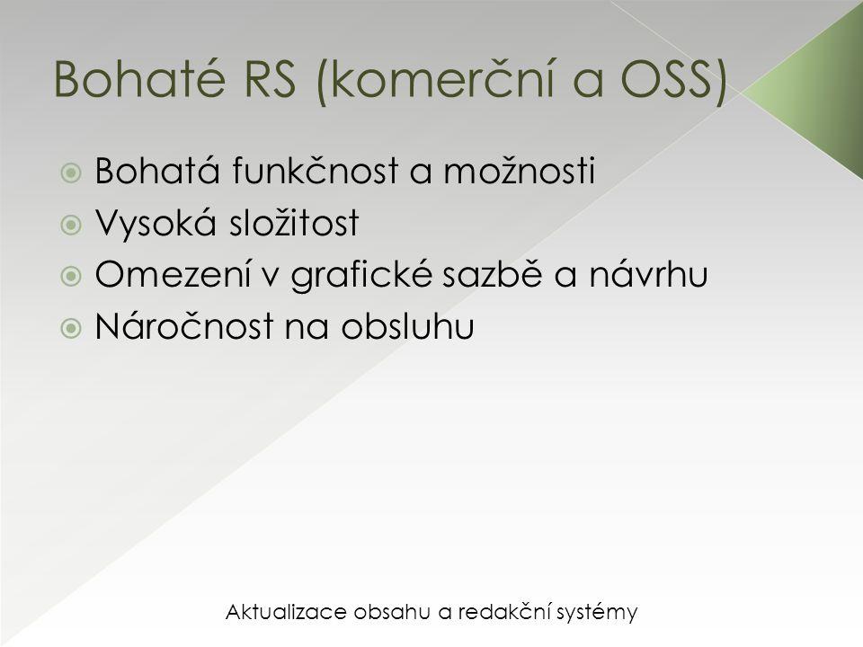 Aktualizace obsahu a redakční systémy Bohaté RS (komerční a OSS) UKÁZKA