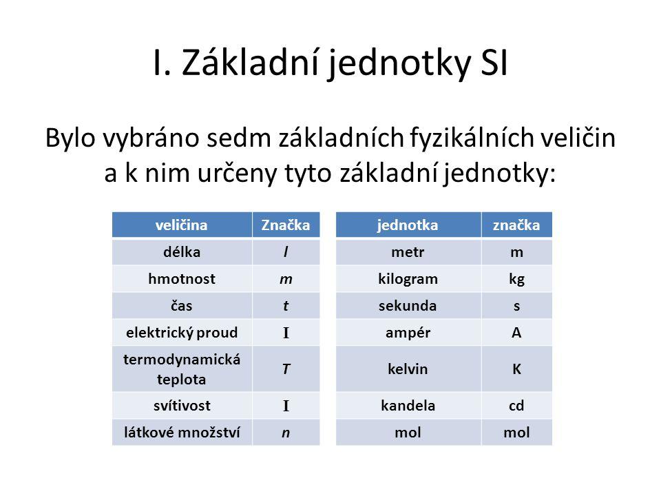 I. Základní jednotky SI Bylo vybráno sedm základních fyzikálních veličin a k nim určeny tyto základní jednotky: veličinaZnačkajednotkaznačka délkalmet