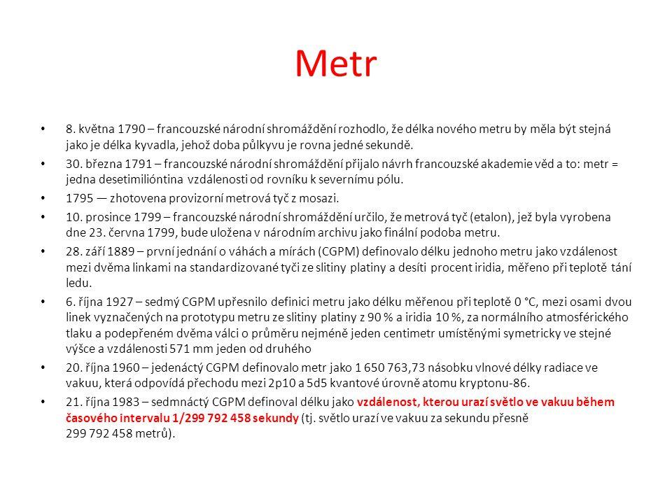 Metr 8. května 1790 – francouzské národní shromáždění rozhodlo, že délka nového metru by měla být stejná jako je délka kyvadla, jehož doba půlkyvu je