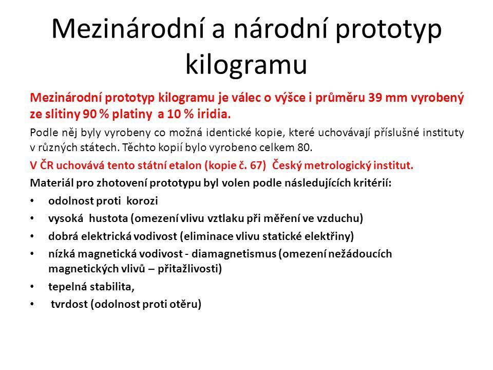 Mezinárodní a národní prototyp kilogramu Mezinárodní prototyp kilogramu je válec o výšce i průměru 39 mm vyrobený ze slitiny 90 % platiny a 10 % iridi
