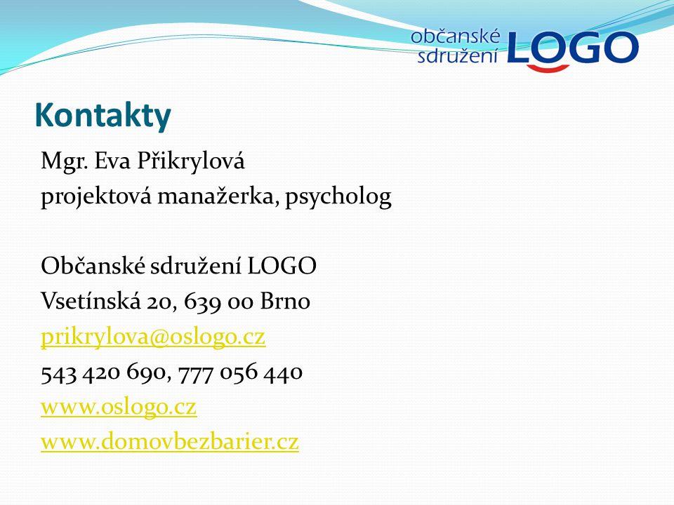 Kontakty Mgr. Eva Přikrylová projektová manažerka, psycholog Občanské sdružení LOGO Vsetínská 20, 639 00 Brno prikrylova@oslogo.cz 543 420 690, 777 05