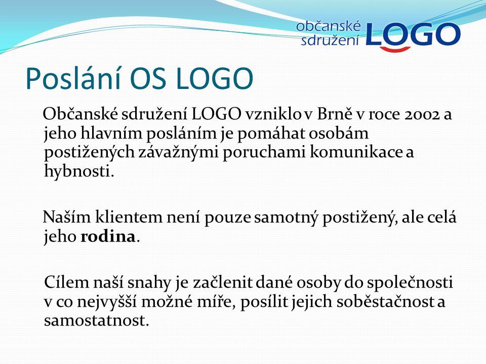 Poslání OS LOGO Občanské sdružení LOGO vzniklo v Brně v roce 2002 a jeho hlavním posláním je pomáhat osobám postižených závažnými poruchami komunikace