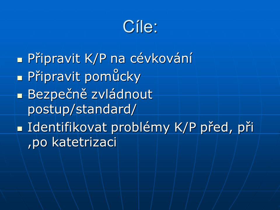 Cíle: Připravit K/P na cévkování Připravit K/P na cévkování Připravit pomůcky Připravit pomůcky Bezpečně zvládnout postup/standard/ Bezpečně zvládnout