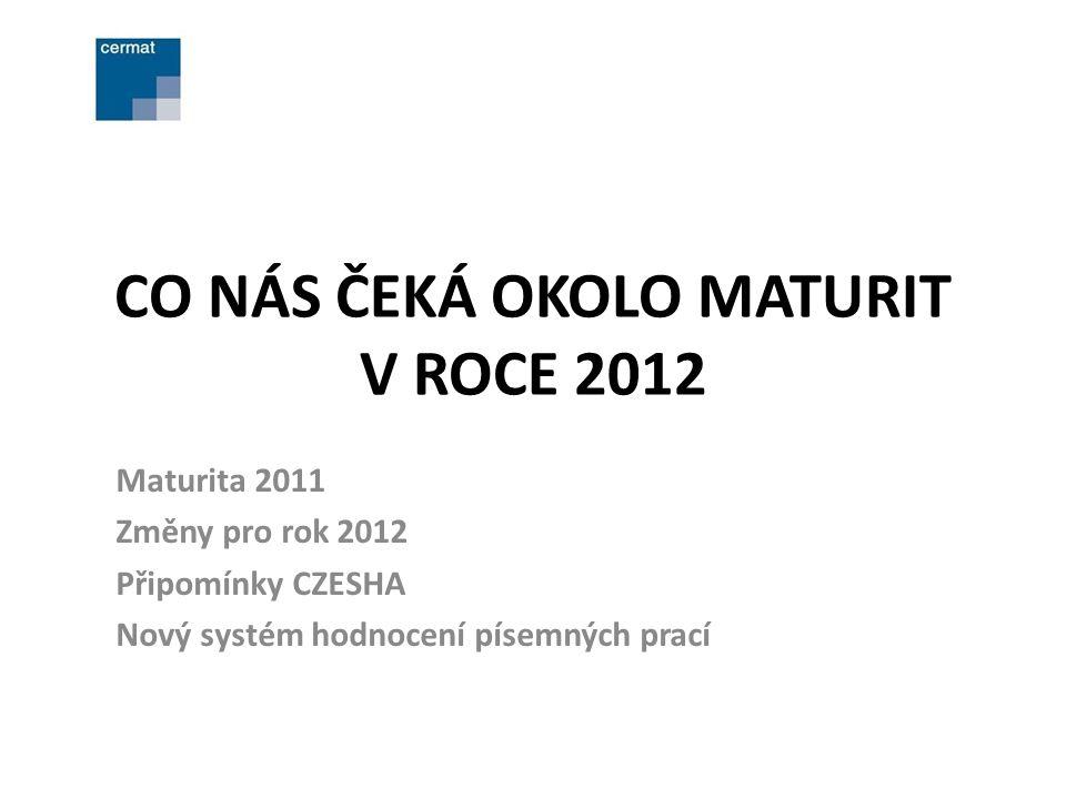 CO NÁS ČEKÁ OKOLO MATURIT V ROCE 2012 Maturita 2011 Změny pro rok 2012 Připomínky CZESHA Nový systém hodnocení písemných prací