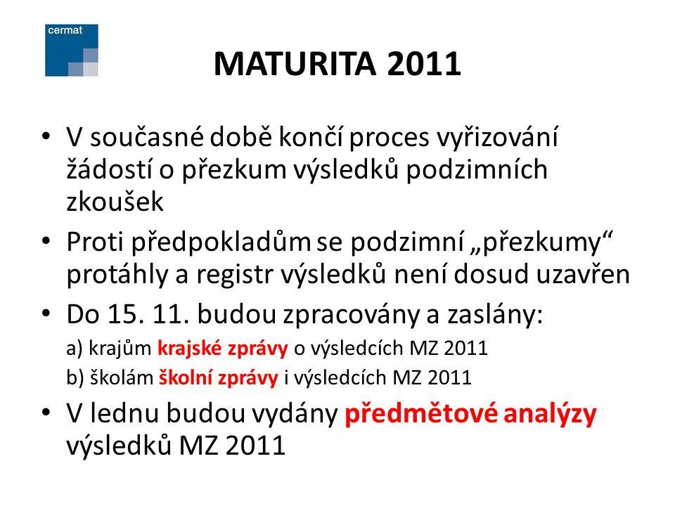 MATURITA 2012 - ZMĚNY NOVELA ŠKOLSKÉHO ZÁKONA (POSLANECKÁ): Schválena PS PČR, Senátem i prezidentem republiky, ve Sbírce zákonů vyjde v nejbližší době MZ 2012 ve stejném modelu jako v tomto roce, tj.