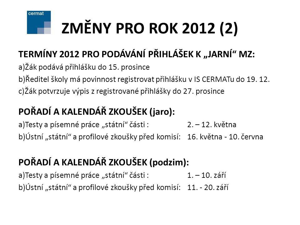 """ZMĚNY PRO ROK 2012 (2) TERMÍNY 2012 PRO PODÁVÁNÍ PŘIHLÁŠEK K """"JARNÍ MZ: a)Žák podává přihlášku do 15."""