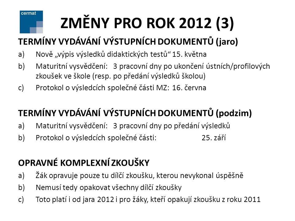 """ZMĚNY PRO ROK 2012 (3) TERMÍNY VYDÁVÁNÍ VÝSTUPNÍCH DOKUMENTŮ (jaro) a)Nově """"výpis výsledků didaktických testů 15."""