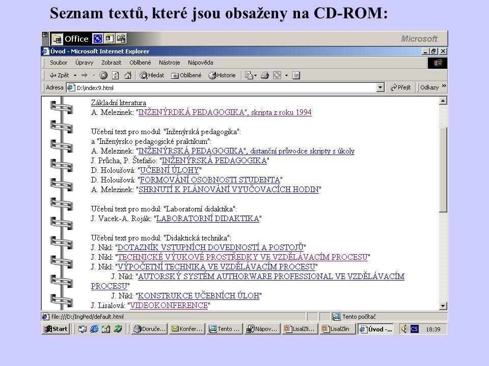 Seznam textů, které jsou obsaženy na CD-ROM: