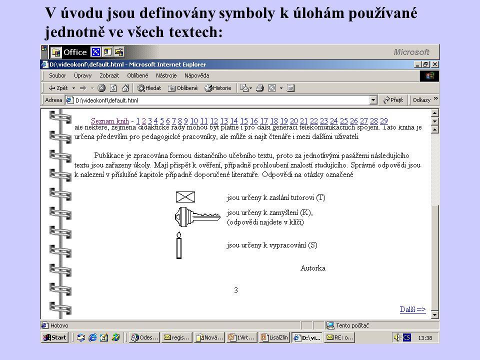 V úvodu jsou definovány symboly k úlohám používané jednotně ve všech textech: