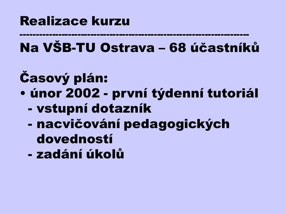 Realizace kurzu------------------------------------------------------------------------ Na VŠB-TU Ostrava – 68 účastníků Časový plán: únor 2002 - prvn