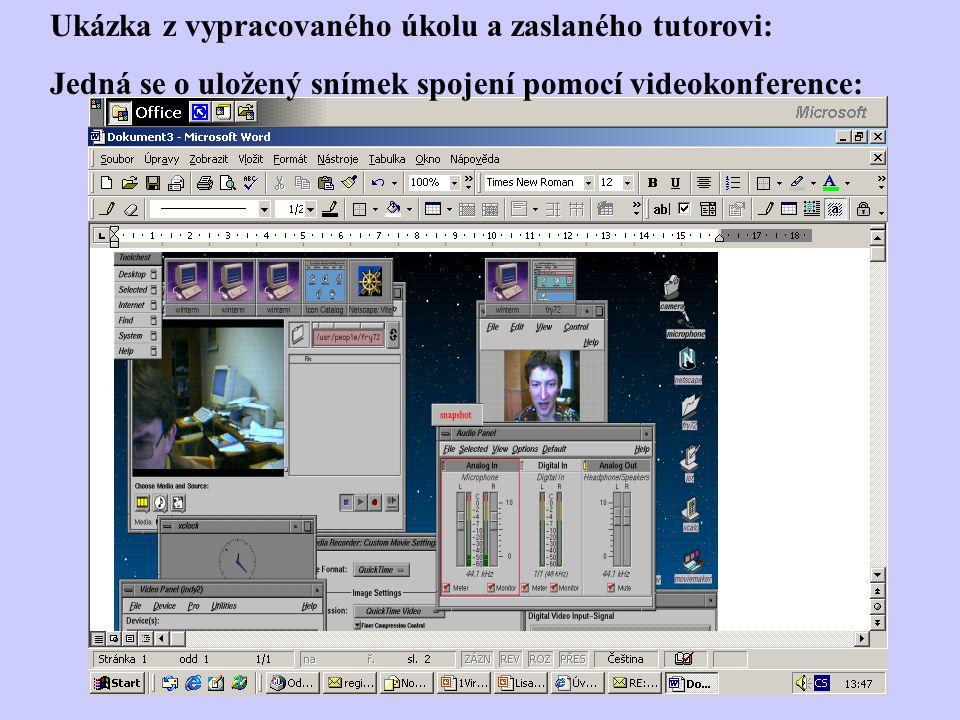 Ukázka z vypracovaného úkolu a zaslaného tutorovi: Jedná se o uložený snímek spojení pomocí videokonference: