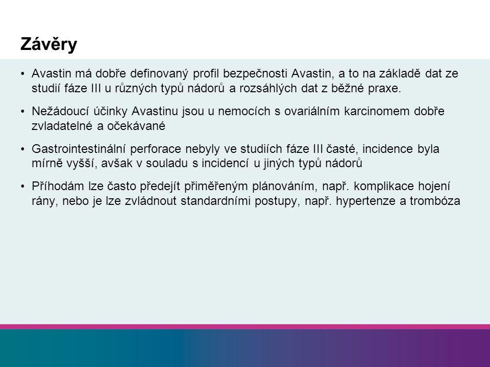 Závěry Avastin má dobře definovaný profil bezpečnosti Avastin, a to na základě dat ze studií fáze III u různých typů nádorů a rozsáhlých dat z běžné praxe.