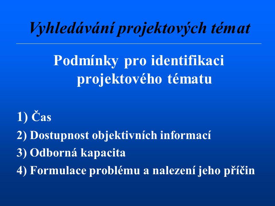Podmínky pro identifikaci projektového tématu 1) Čas 2) Dostupnost objektivních informací 3) Odborná kapacita 4) Formulace problému a nalezení jeho příčin Vyhledávání projektových témat