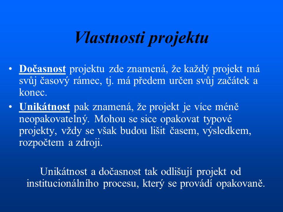 Vlastnosti projektu Dočasnost projektu zde znamená, že každý projekt má svůj časový rámec, tj.