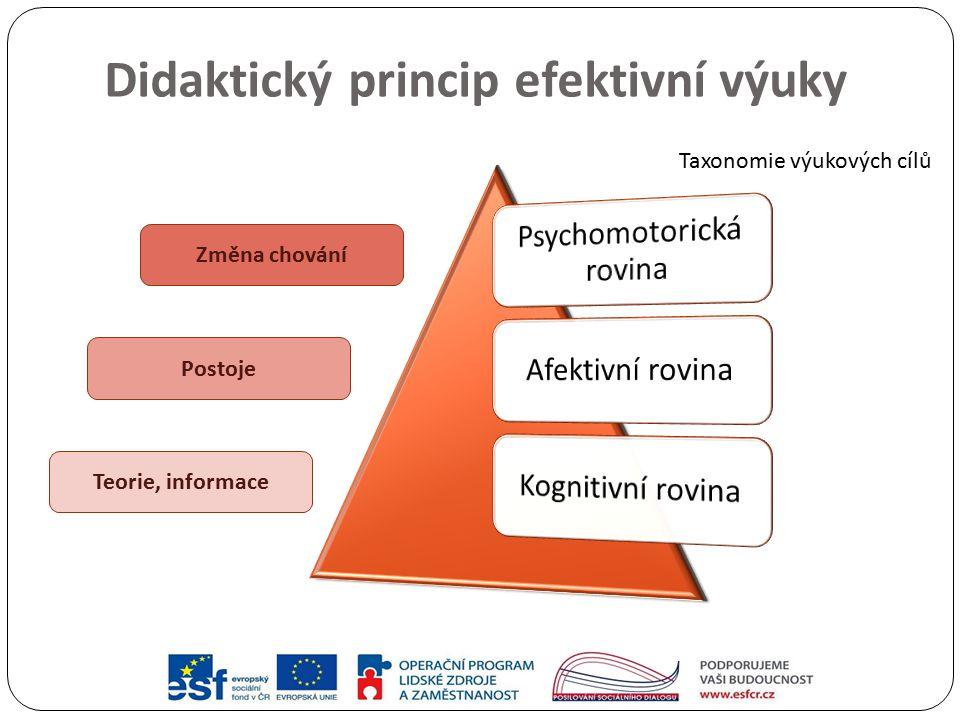 Didaktický princip efektivní výuky Změna chování Postoje Teorie, informace Taxonomie výukových cílů