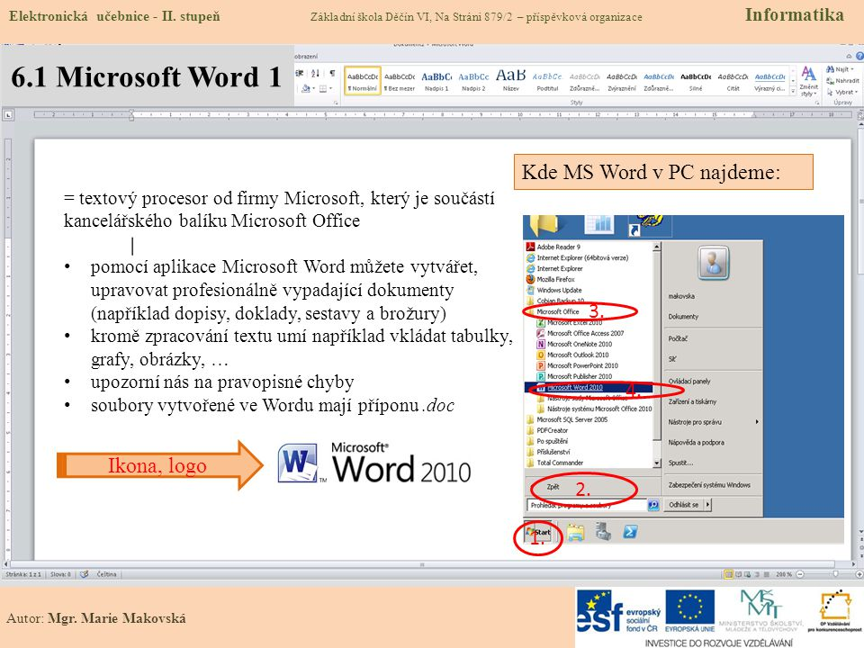 6.1 Microsoft Word 1 Elektronická učebnice - II.
