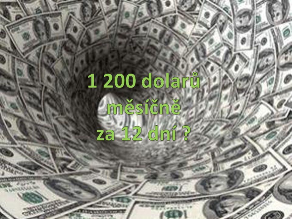 1 200 dolarů měsíčně za 12 dní