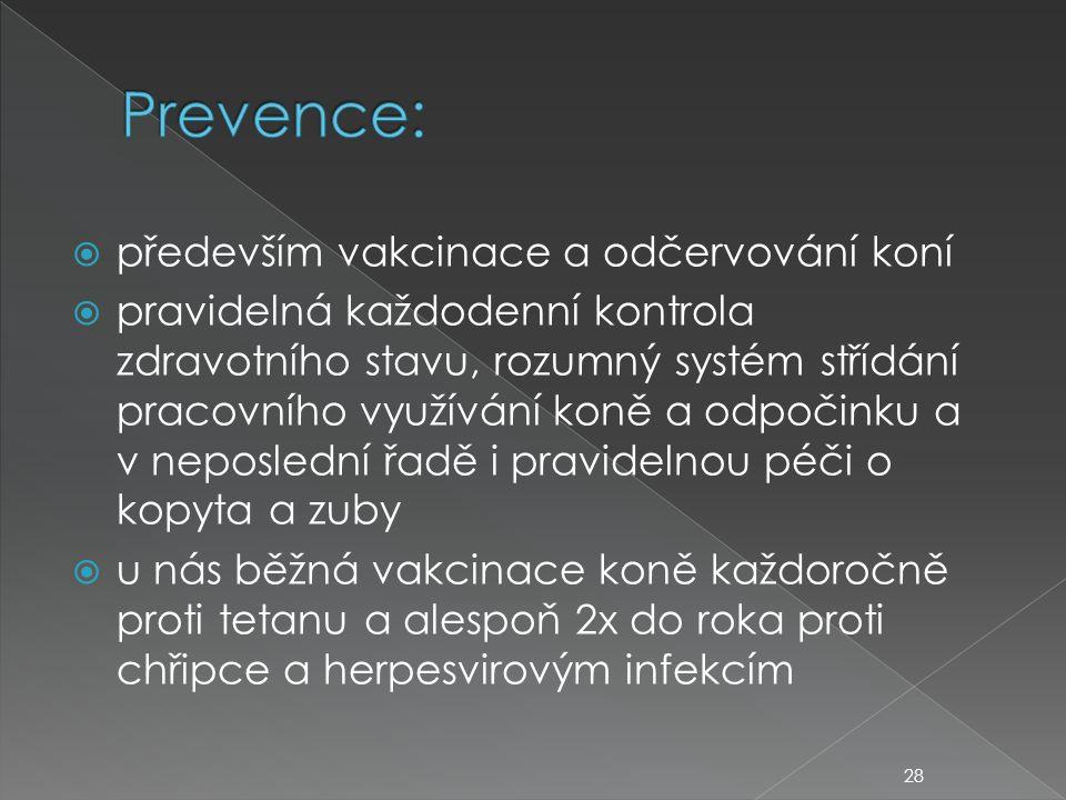  především vakcinace a odčervování koní  pravidelná každodenní kontrola zdravotního stavu, rozumný systém střídání pracovního využívání koně a odpočinku a v neposlední řadě i pravidelnou péči o kopyta a zuby  u nás běžná vakcinace koně každoročně proti tetanu a alespoň 2x do roka proti chřipce a herpesvirovým infekcím 28