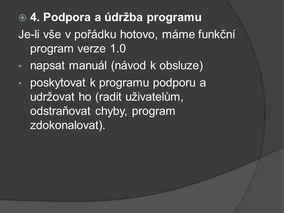  4. Podpora a údržba programu Je-li vše v pořádku hotovo, máme funkční program verze 1.0 napsat manuál (návod k obsluze) poskytovat k programu podpor