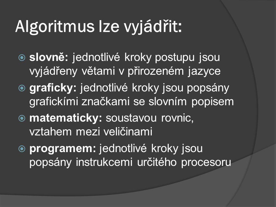 Algoritmus lze vyjádřit:  slovně: jednotlivé kroky postupu jsou vyjádřeny větami v přirozeném jazyce  graficky: jednotlivé kroky jsou popsány grafic