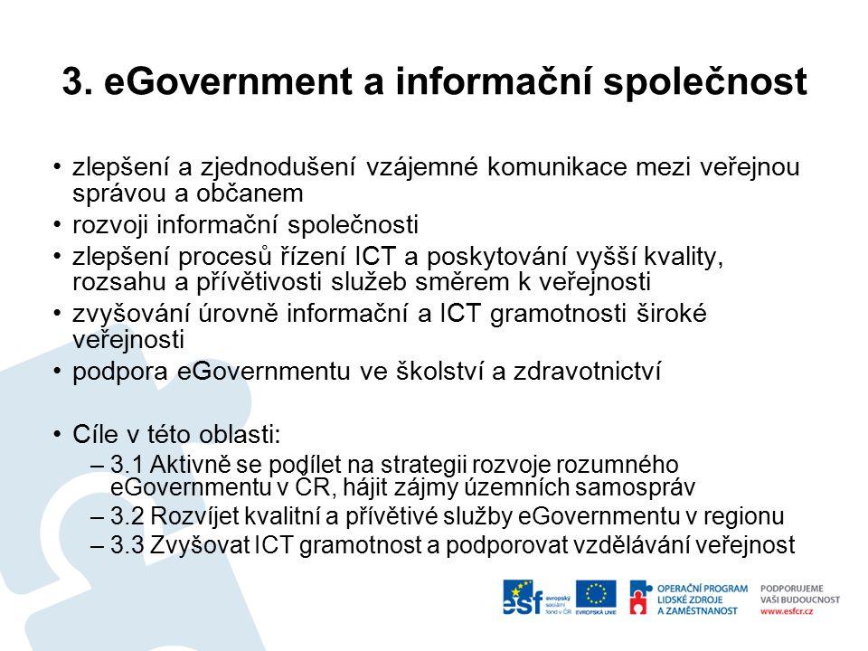 3. eGovernment a informační společnost zlepšení a zjednodušení vzájemné komunikace mezi veřejnou správou a občanem rozvoji informační společnosti zlep