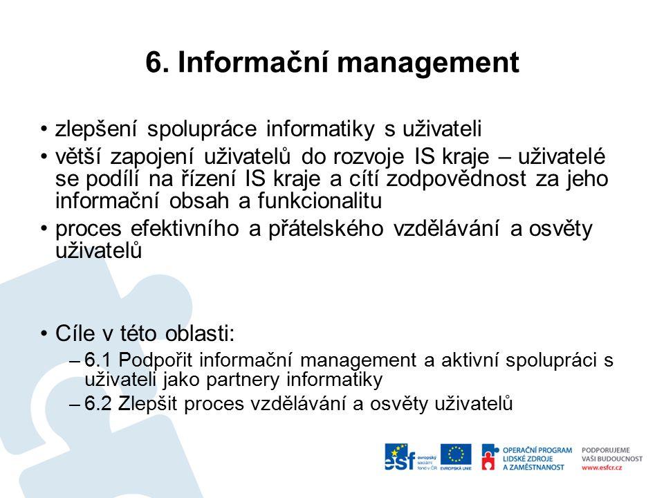 6. Informační management zlepšení spolupráce informatiky s uživateli větší zapojení uživatelů do rozvoje IS kraje – uživatelé se podílí na řízení IS k