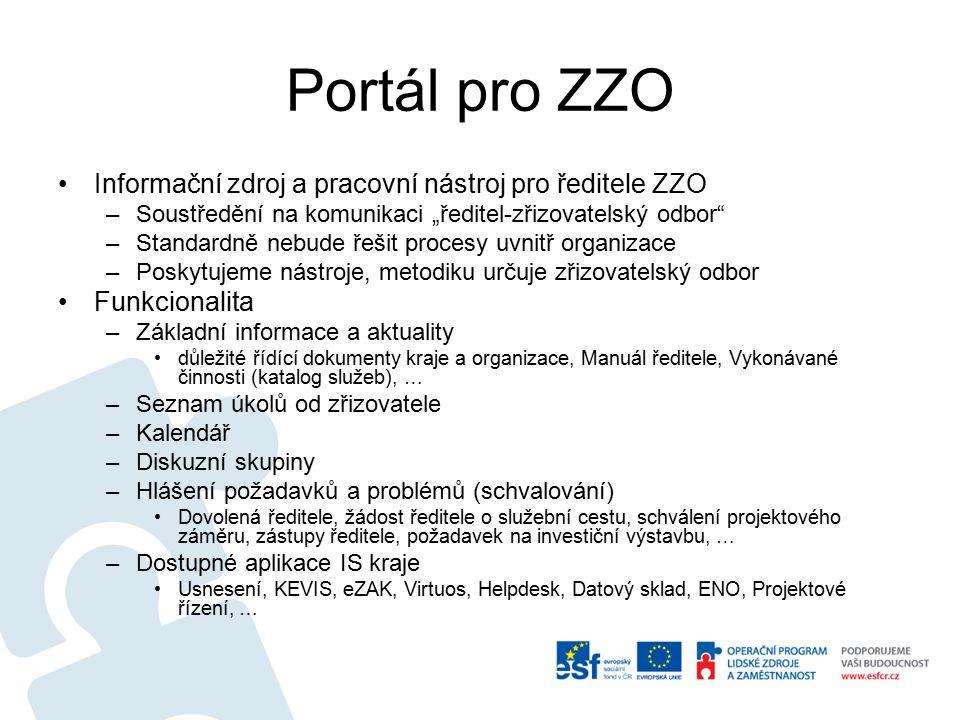 """Portál pro ZZO Informační zdroj a pracovní nástroj pro ředitele ZZO –Soustředění na komunikaci """"ředitel-zřizovatelský odbor –Standardně nebude řešit procesy uvnitř organizace –Poskytujeme nástroje, metodiku určuje zřizovatelský odbor Funkcionalita –Základní informace a aktuality důležité řídící dokumenty kraje a organizace, Manuál ředitele, Vykonávané činnosti (katalog služeb), … –Seznam úkolů od zřizovatele –Kalendář –Diskuzní skupiny –Hlášení požadavků a problémů (schvalování) Dovolená ředitele, žádost ředitele o služební cestu, schválení projektového záměru, zástupy ředitele, požadavek na investiční výstavbu, … –Dostupné aplikace IS kraje Usnesení, KEVIS, eZAK, Virtuos, Helpdesk, Datový sklad, ENO, Projektové řízení, …"""