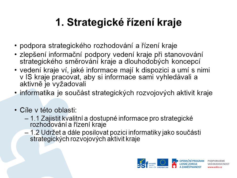 1. Strategické řízení kraje podpora strategického rozhodování a řízení kraje zlepšení informační podpory vedení kraje při stanovování strategického sm