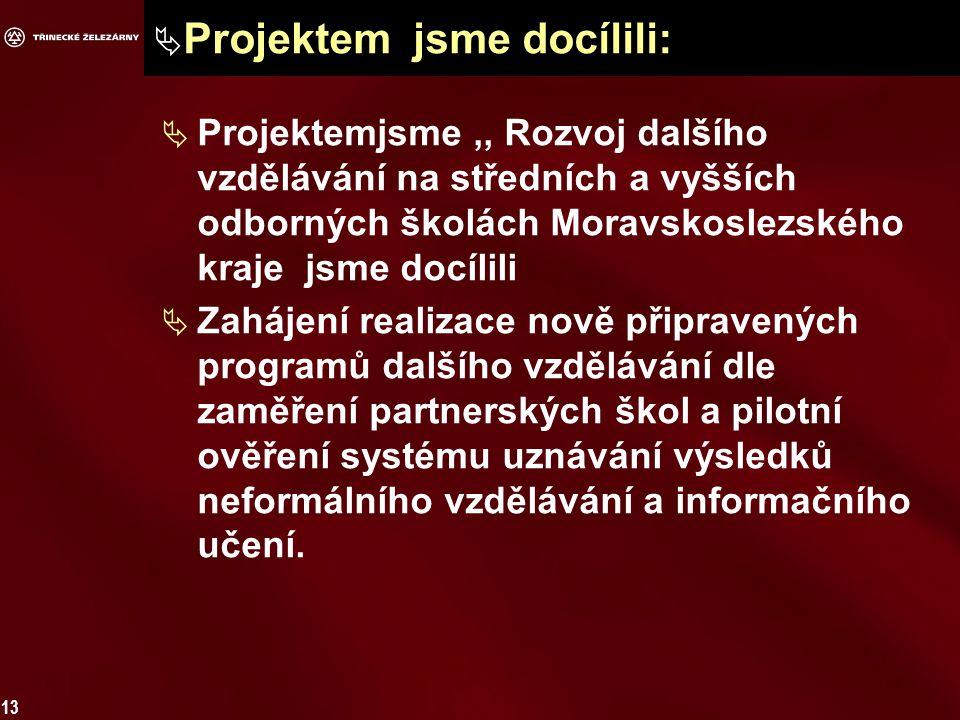 13  Projektem jsme docílili:  Projektemjsme,, Rozvoj dalšího vzdělávání na středních a vyšších odborných školách Moravskoslezského kraje jsme docílili  Zahájení realizace nově připravených programů dalšího vzdělávání dle zaměření partnerských škol a pilotní ověření systému uznávání výsledků neformálního vzdělávání a informačního učení.