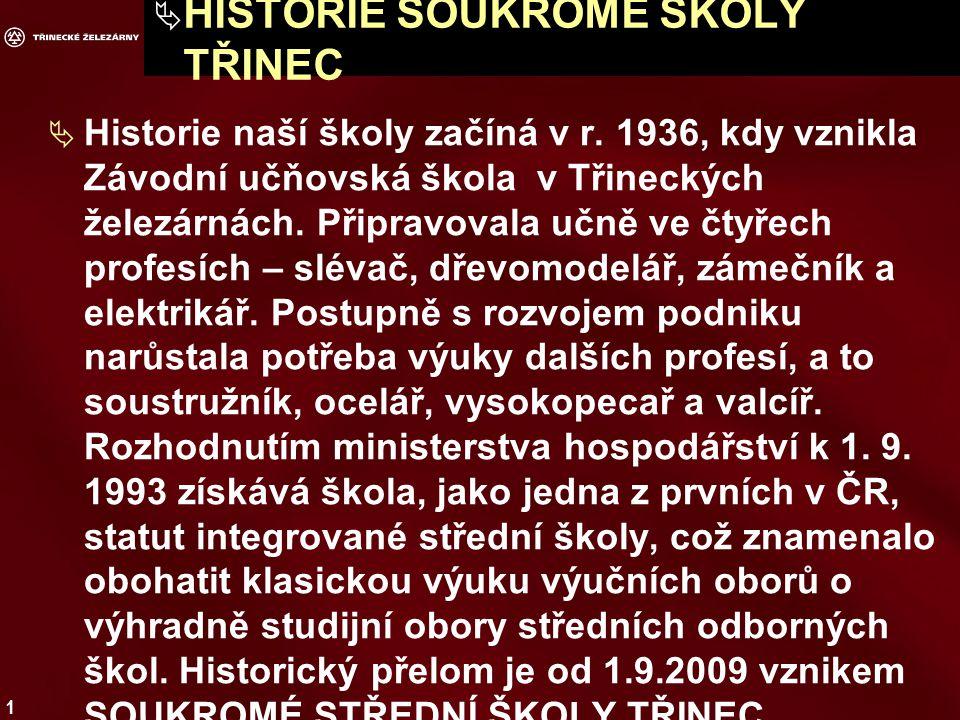 1  HISTORIE SOUKROMÉ ŠKOLY TŘINEC  Historie naší školy začíná v r.