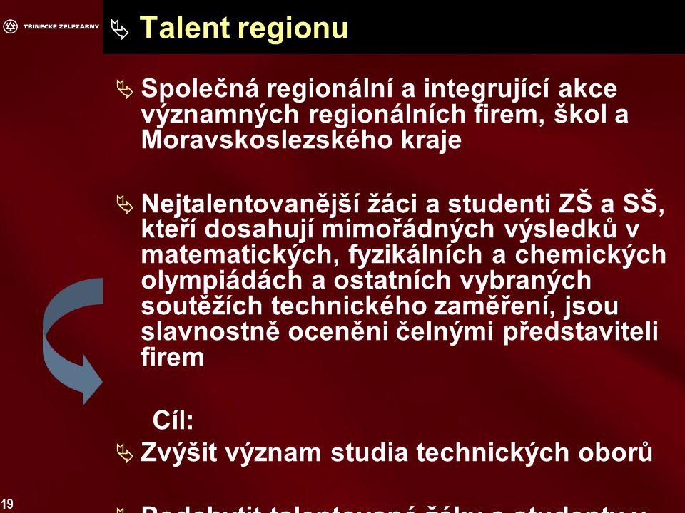 19  Talent regionu  Společná regionální a integrující akce významných regionálních firem, škol a Moravskoslezského kraje  Nejtalentovanější žáci a studenti ZŠ a SŠ, kteří dosahují mimořádných výsledků v matematických, fyzikálních a chemických olympiádách a ostatních vybraných soutěžích technického zaměření, jsou slavnostně oceněni čelnými představiteli firem Cíl:  Zvýšit význam studia technických oborů  Podchytit talentované žáky a studenty v regionu a ocenit ty nejlepší