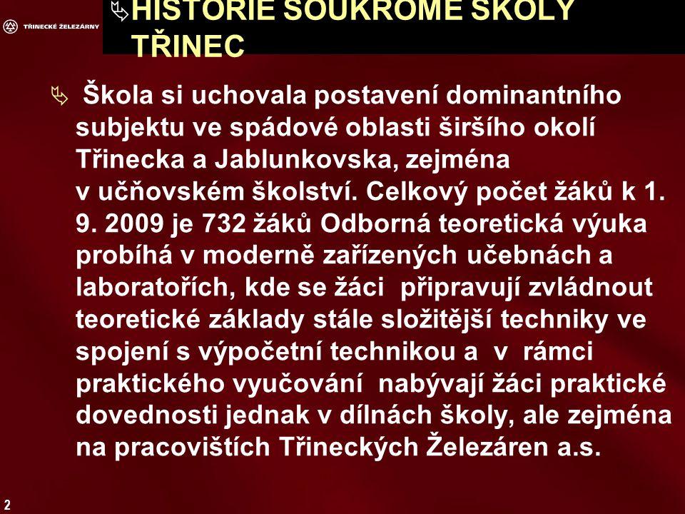 2  HISTORIE SOUKROMÉ ŠKOLY TŘINEC  Škola si uchovala postavení dominantního subjektu ve spádové oblasti širšího okolí Třinecka a Jablunkovska, zejména v učňovském školství.