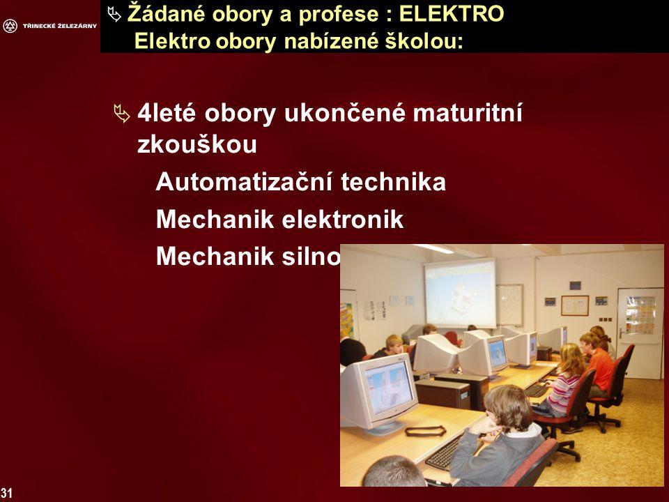 31  Žádané obory a profese : ELEKTRO Elektro obory nabízené školou:  4leté obory ukončené maturitní zkouškou Automatizační technika Mechanik elektronik Mechanik silnoproudých zařízení