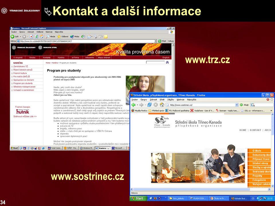 34  Kontakt a další informace www.trz.cz www.sostrinec.cz