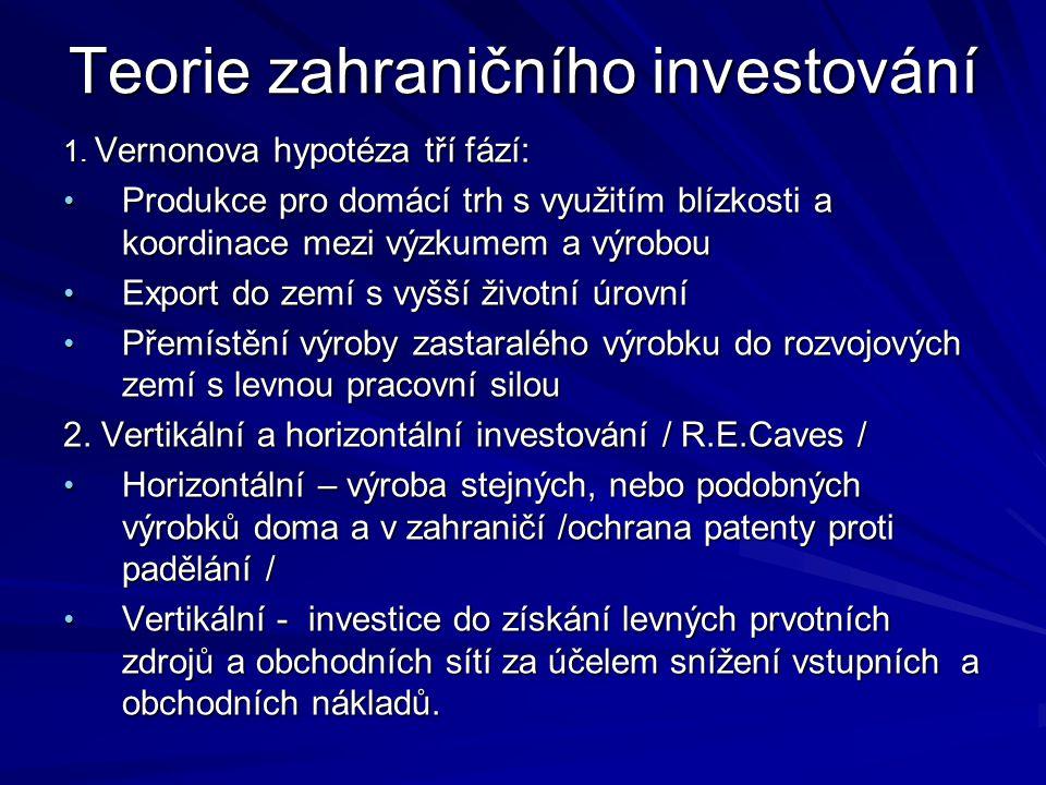 Teorie zahraničního investování 1. Vernonova hypotéza tří fází: Produkce pro domácí trh s využitím blízkosti a koordinace mezi výzkumem a výrobou Prod