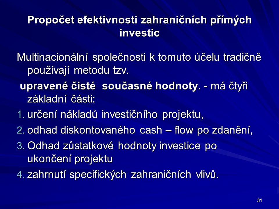 Propočet efektivnosti zahraničních přímých investic Multinacionální společnosti k tomuto účelu tradičně používají metodu tzv. upravené čisté současné